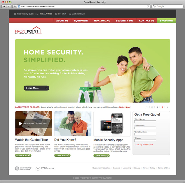 Slant communication design work web frontpoint for Frontpoint home security